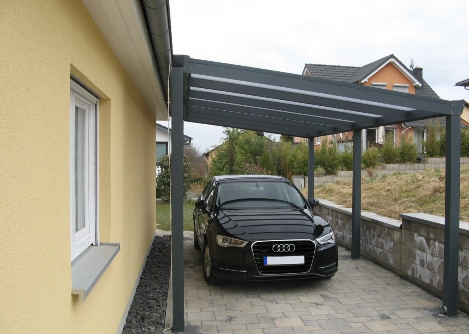 pultdach carport aus aluminium typ g mit gef lle zur seite. Black Bedroom Furniture Sets. Home Design Ideas