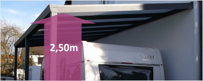 Wohnmobil-Anbaucarport mit ca. 2,50m Durchfahrtshöhe