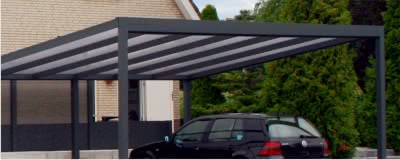 typ g pultdachcarports aus alu mit dem gef lle nach hinten. Black Bedroom Furniture Sets. Home Design Ideas