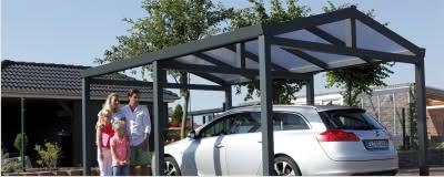 Einzelcarport aus Aluminium mit Bogendach