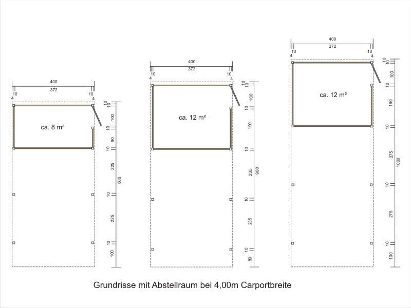 einzelcarport aus aluminium mit abstellraum alucarport. Black Bedroom Furniture Sets. Home Design Ideas